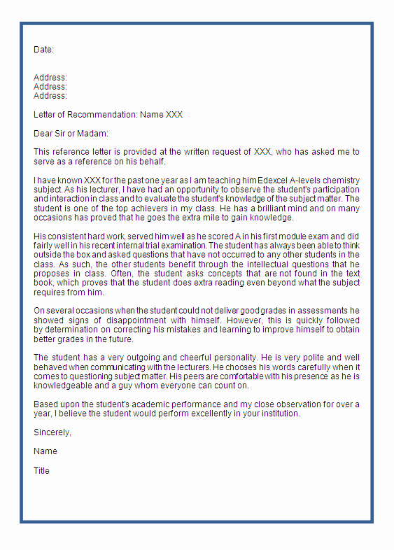 Recommendation Letter format for Student Unique Best S Of Student Re Mendation Report Example