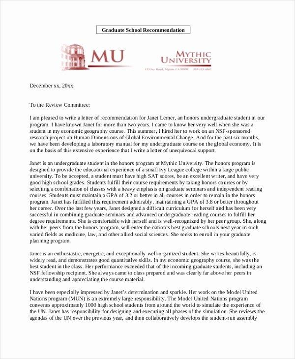 Recommendation Letter format for Student Unique Free 10 Sample Re Mendation Letter for Students In Pdf