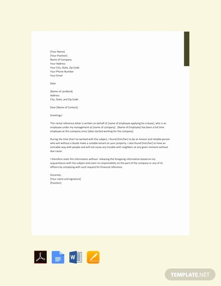 Recommendation Letter From Landlord Lovely Free Reference Letter for Landlord From Employer Template