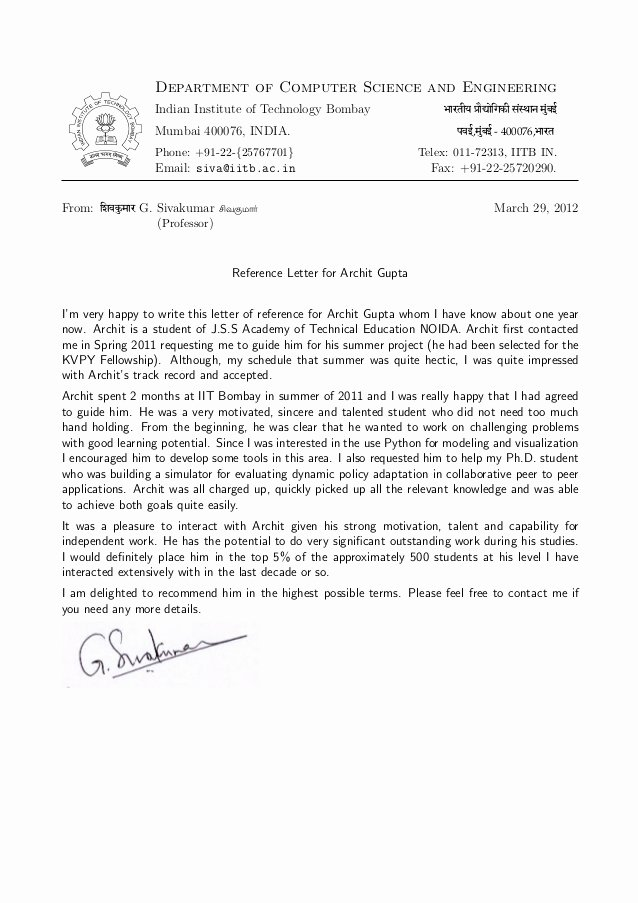 Recommendation Letter From Professor Elegant Re Mendation Letter Prof G Sivakumar H O D Cfdvs
