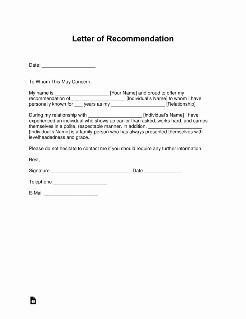 Recommendation Letter Template Word Awesome Free Letter Of Re Mendation Templates Samples and