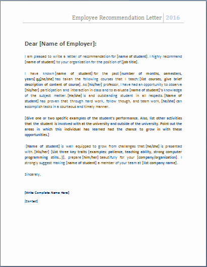Recommendation Letter Template Word Elegant Employee Re Mendation Letter … Nats