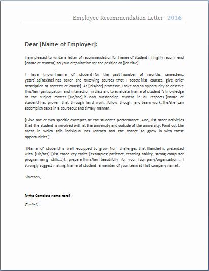 Recommendation Letter Template Word Elegant Employee Re Mendation Letter … Nats