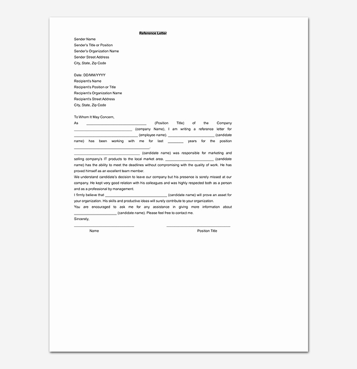 Recommendation Letter Template Word Inspirational Reference Letter Template 50 for Word & Pdf format