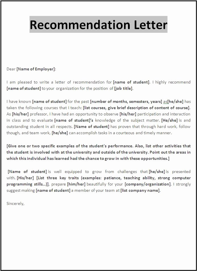 Recommendation Letter Template Word Unique 10 Re Mendation Letter Samples