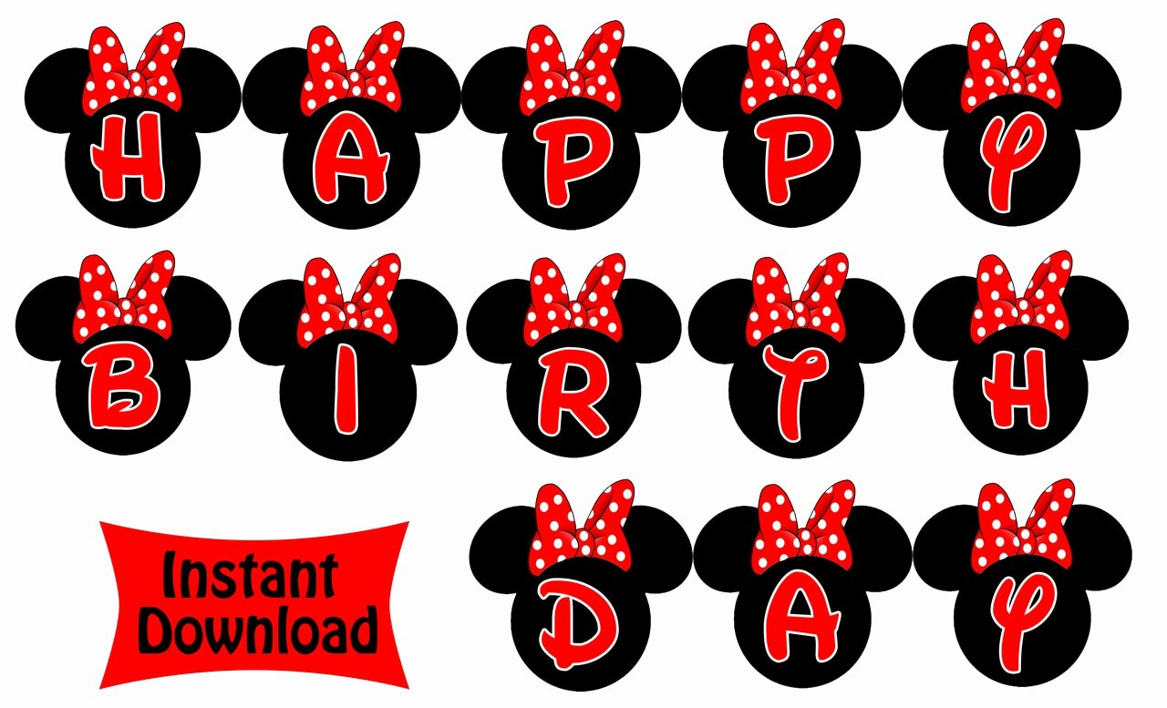 Red Minnie Mouse Birthday Invitations Best Of Minnie Mouse Birthday Banner Red Minnie Mouse
