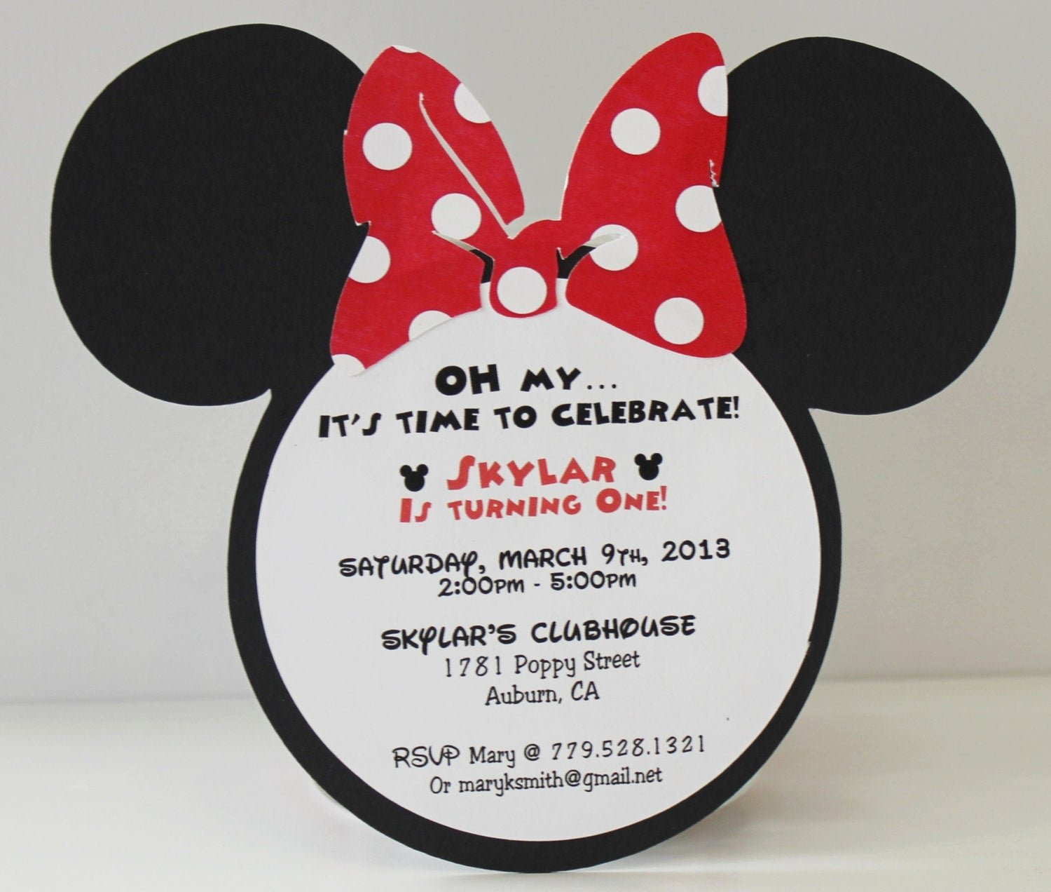 Red Minnie Mouse Birthday Invitations Elegant Minnie Mouse Birthday Invitation Red Polka Dot Bow