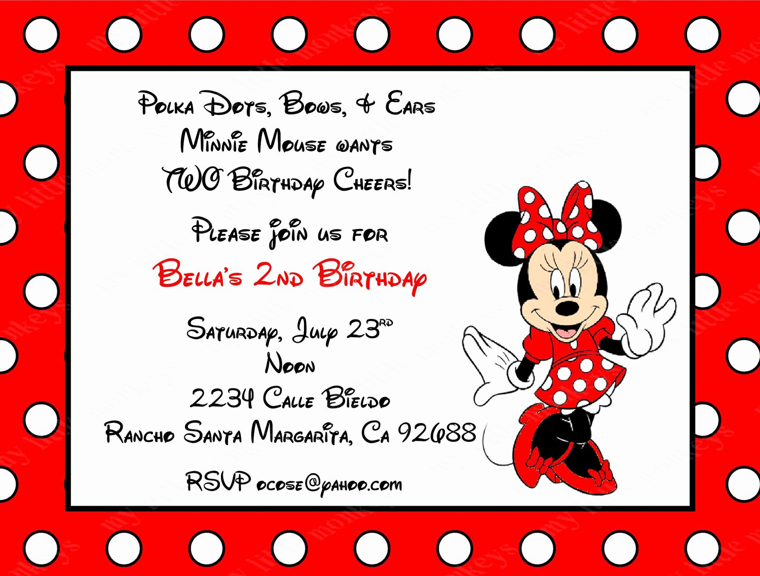 Red Minnie Mouse Birthday Invitations Fresh 10 Red Minnie Mouse Invitations with Envelopes Free Return