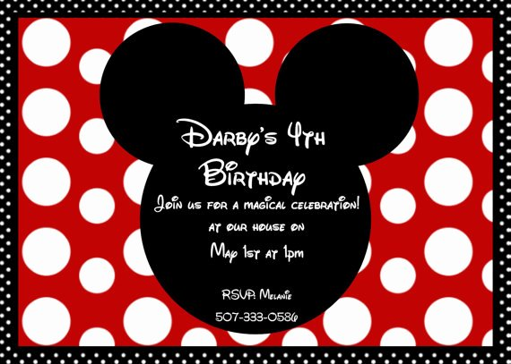 Red Minnie Mouse Birthday Invitations Inspirational Boys Mickey Mouse Red and White Birthday Party Invitation
