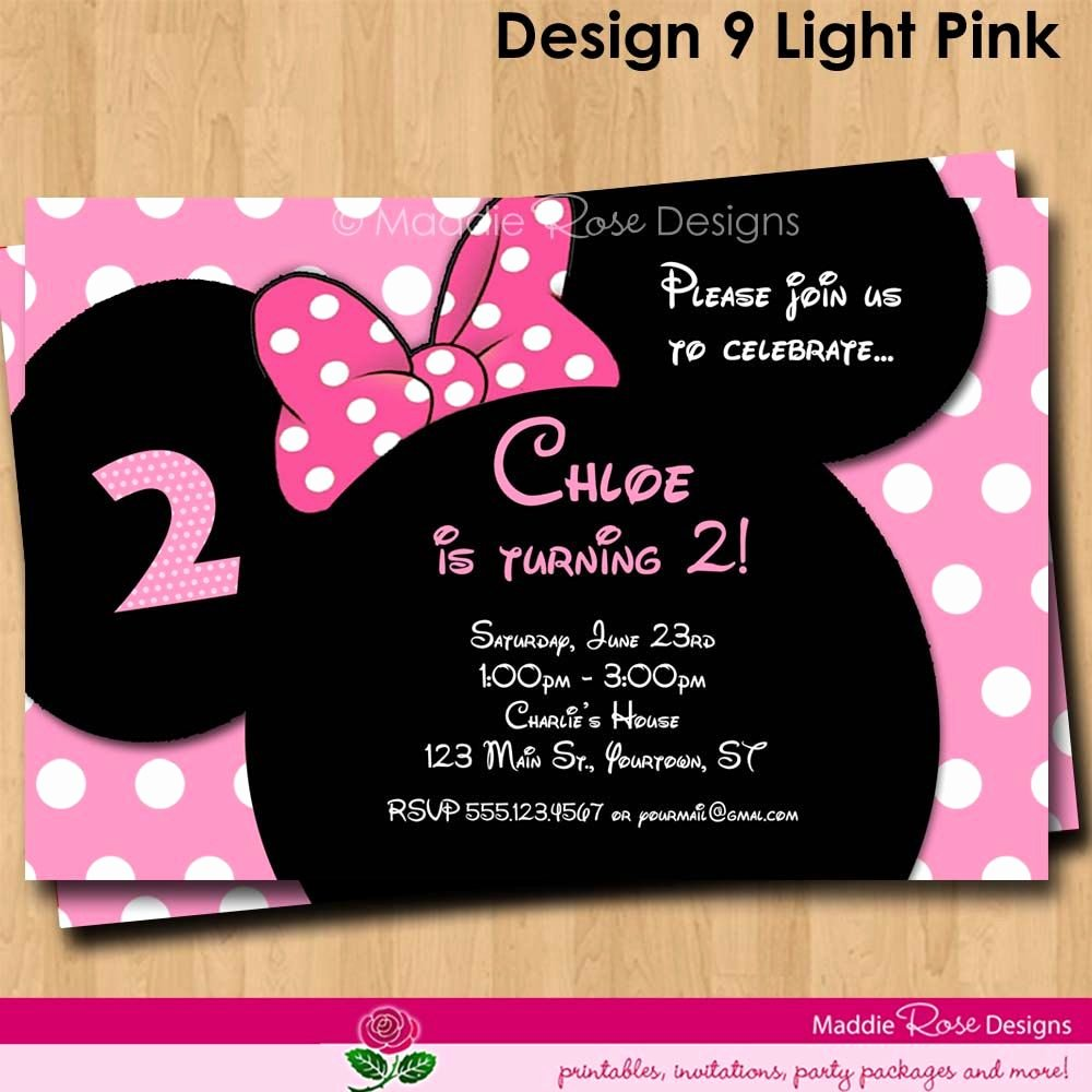 Red Minnie Mouse Birthday Invitations Inspirational Minnie Mouse Invitation Red or Pink Birthday by