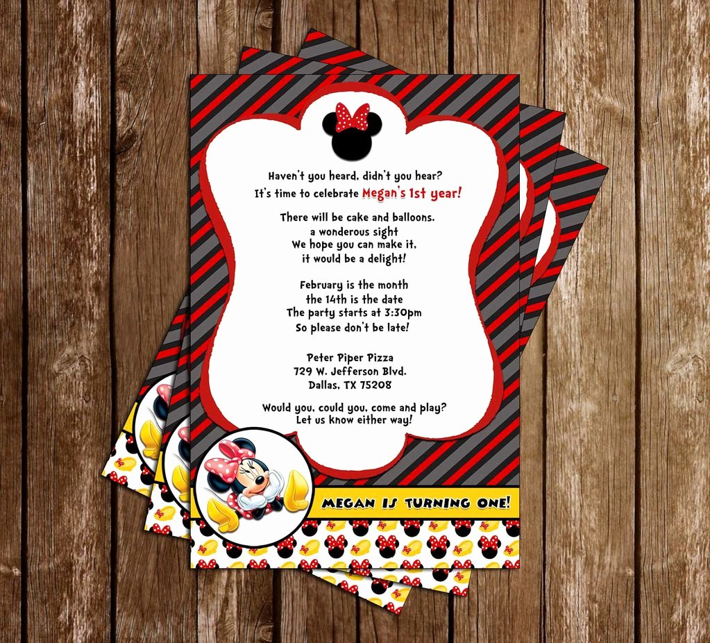 Red Minnie Mouse Birthday Invitations Inspirational Novel Concept Designs Disney Minnie Mouse Red Tall