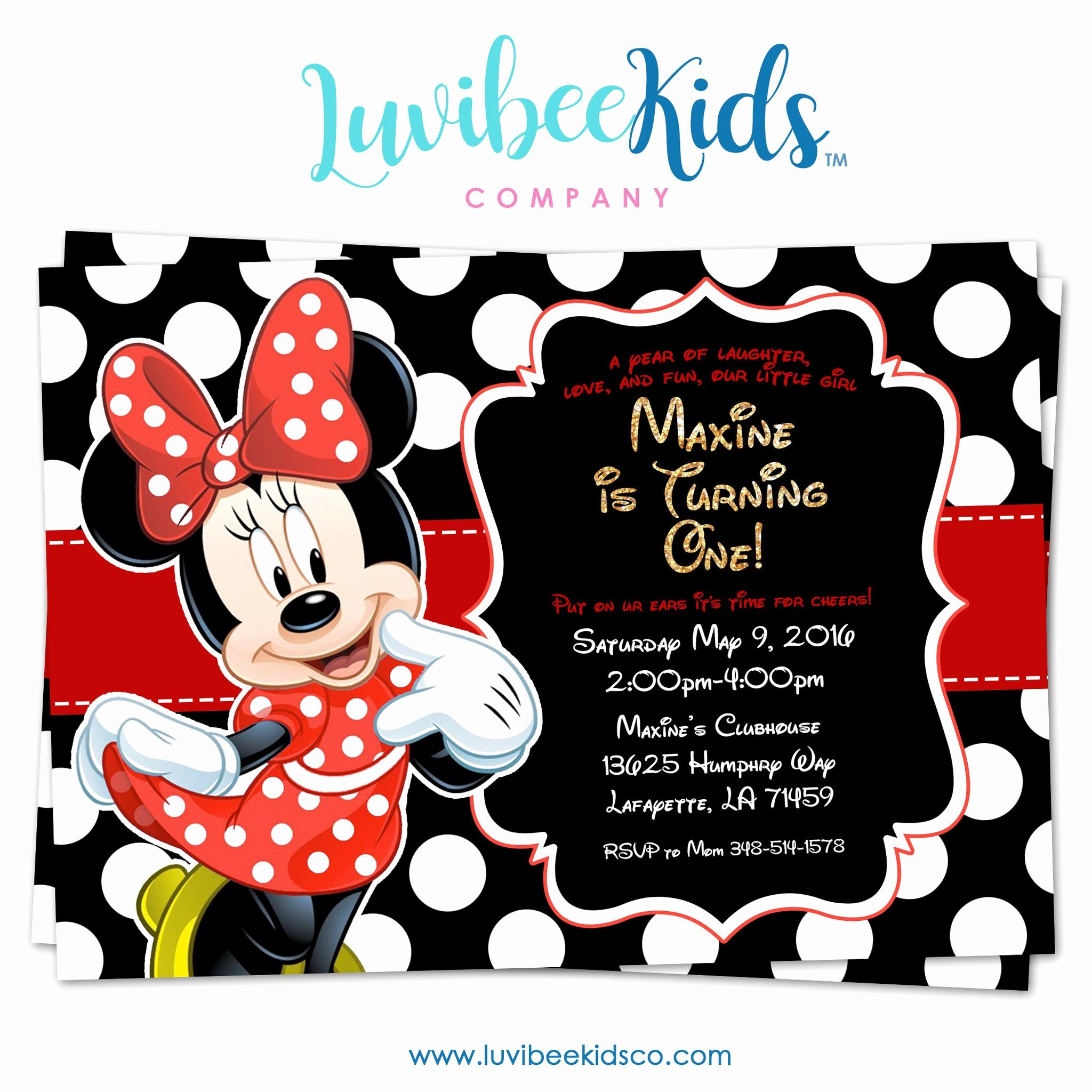 Red Minnie Mouse Birthday Invitations Lovely Minnie Mouse Birthday Invitation Printable Invite