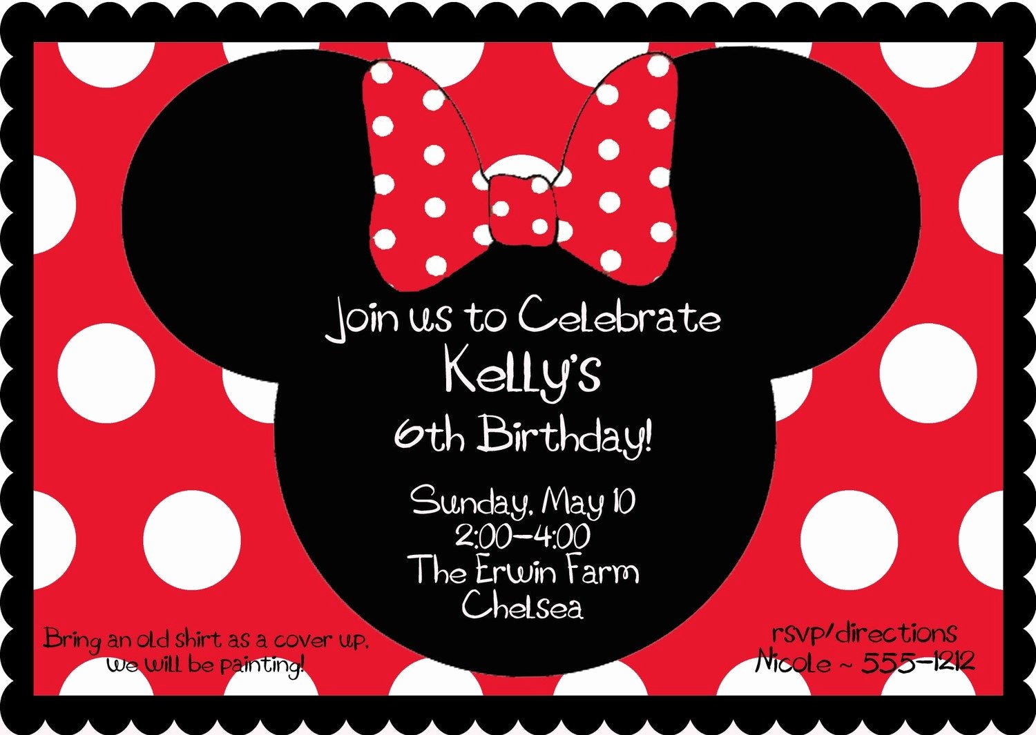 Red Minnie Mouse Birthday Invitations Lovely Red Minnie Mouse Birthday Party Invitation by
