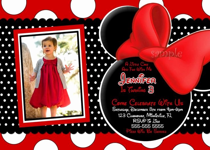 Red Minnie Mouse Birthday Invitations Luxury 3 Year Old Birthday Party Invitation Wording