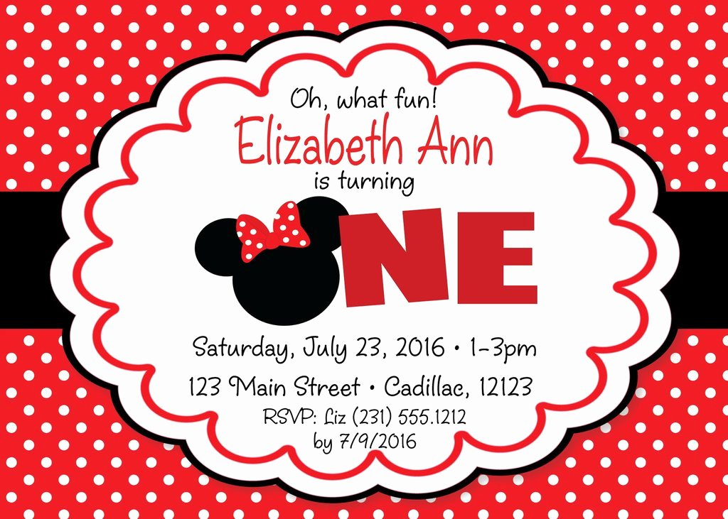 Red Minnie Mouse Birthday Invitations New Minnie Mouse 1st Birthday Invitation