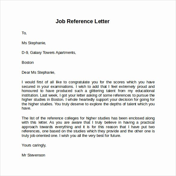 Reference Letter for A Job Beautiful Job Reference Letter 7 Free Samples Examples & formats