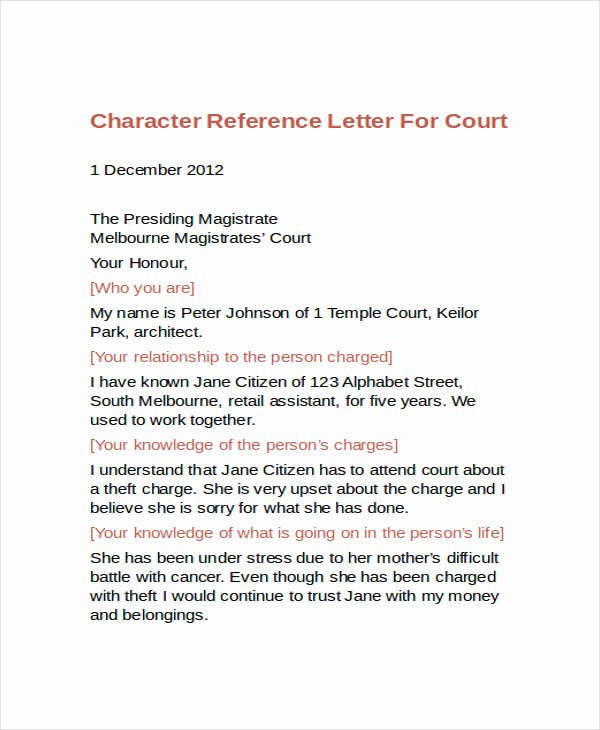 Reference Letter for Court Beautiful 10 Best Personal Character Reference Letter How to
