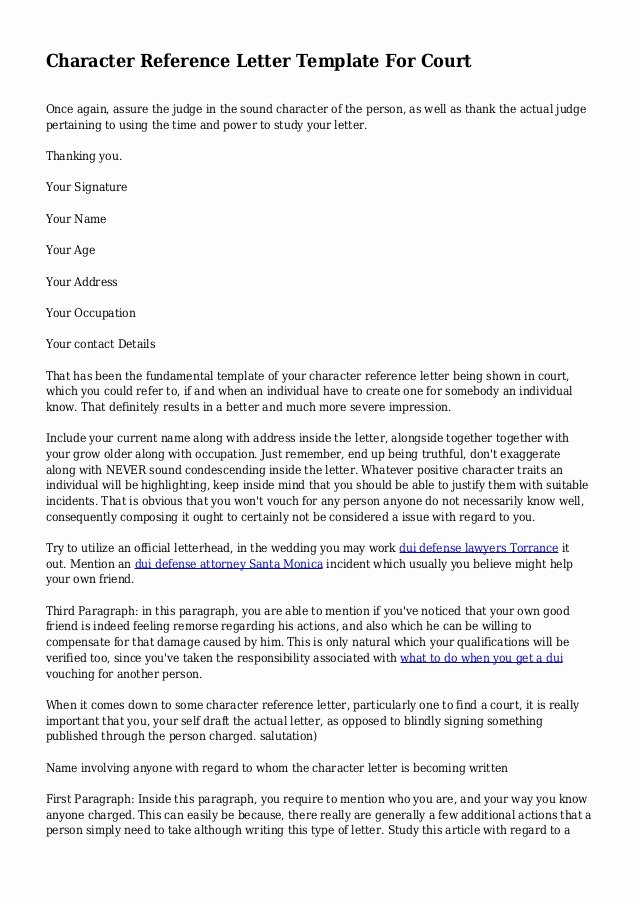 Reference Letter for Court Beautiful Character Reference Letter Template for Court