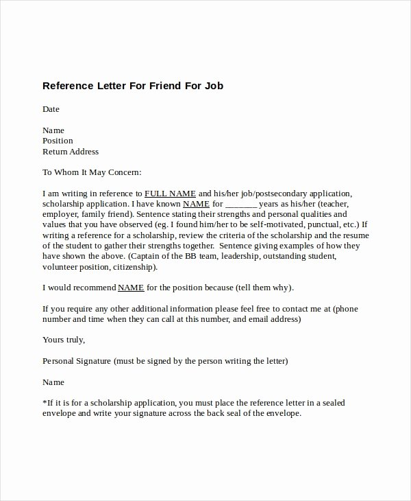 Reference Letter for Friend Lovely 5 Reference Letter for Friend Templates Free Sample