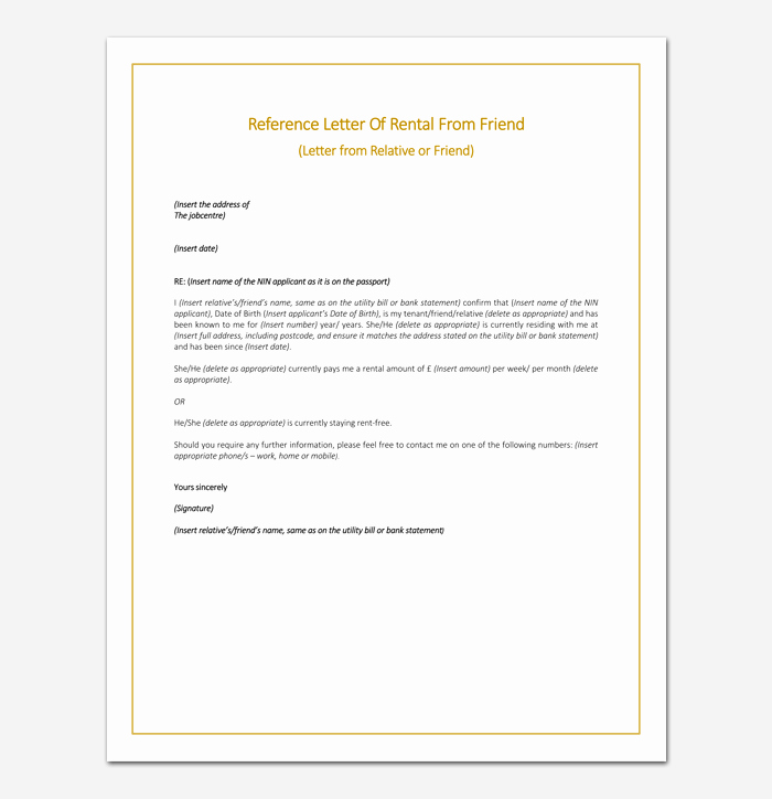 Reference Letter for Friends Elegant Rental Reference Letter Template 12 Samples & Examples