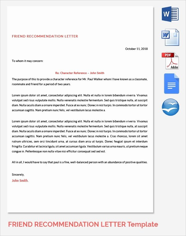 Reference Letter for Friends Lovely Sample Reference Letters 17 Download Free Documents In
