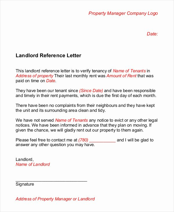 Reference Letter for Renter Awesome Landlord Reference Letter 5 Free Sample Example