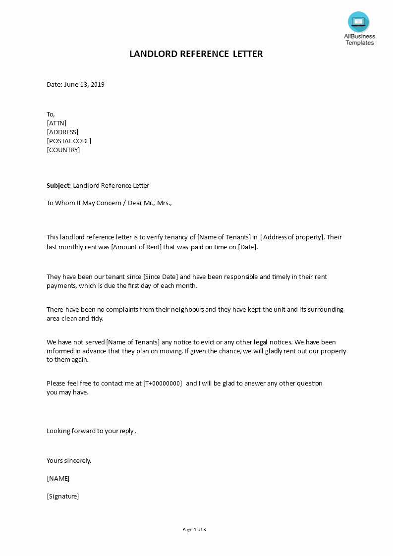 Reference Letter for Renter Beautiful Landlord Reference Letter