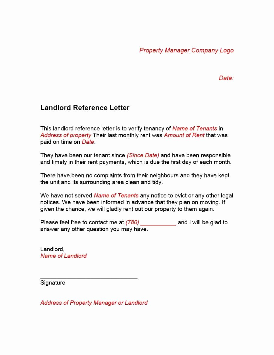 Reference Letter for Renters Elegant 40 Landlord Reference Letters & form Samples Template Lab