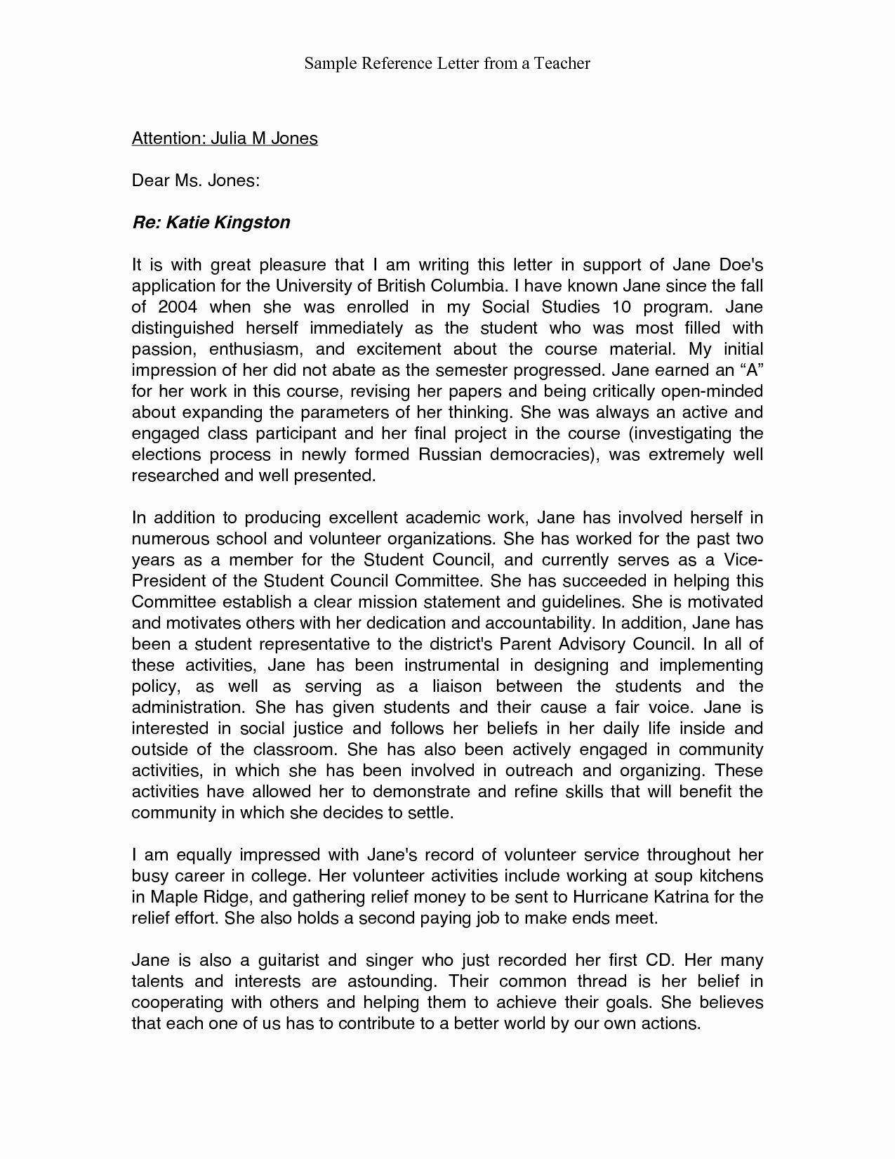Reference Letter for Teachers Best Of Re Mendation Letter Sample for Teacher From Parent