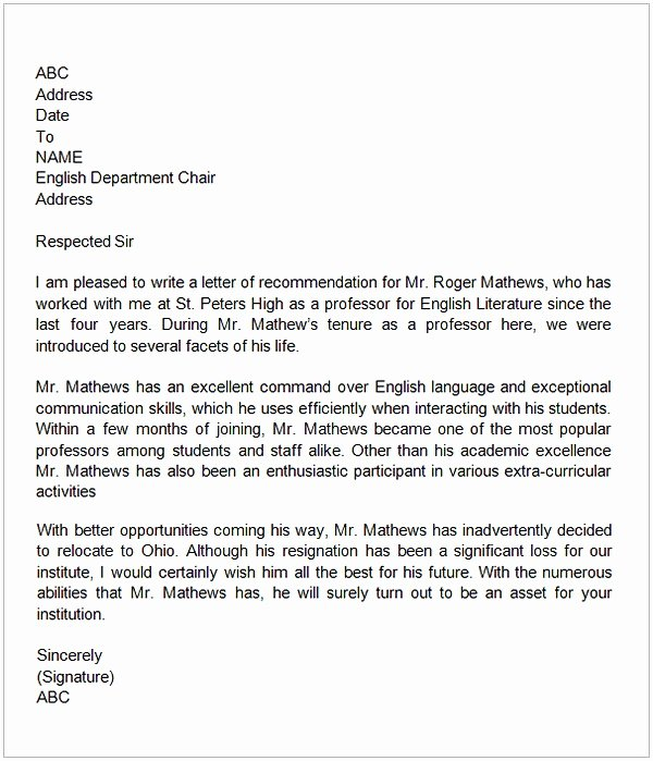 Reference Letter for Teachers Fresh Letter Of Re Mendation for A Teacher Colleague