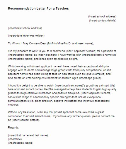 Reference Letter for Teachers Fresh Re Mendation Letter for A Teacher Sample