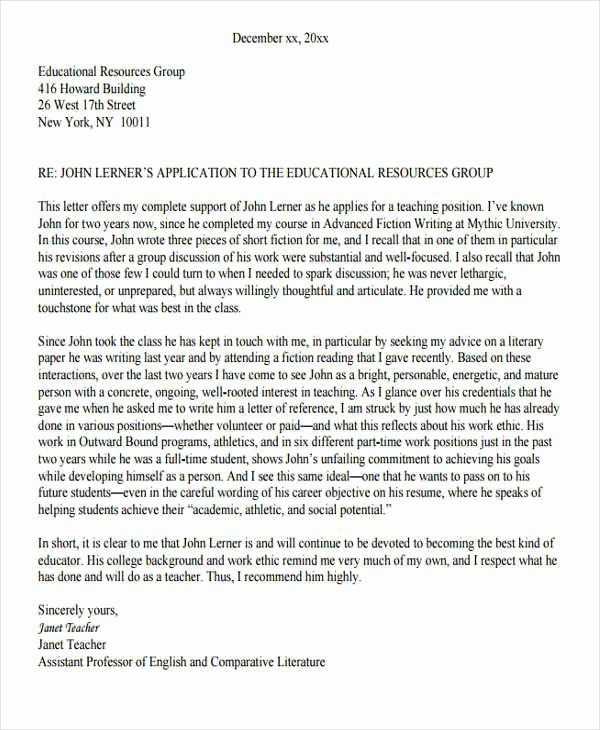 Reference Letter for Teachers New 6 Reference Letter for Teachers Free Sample Example