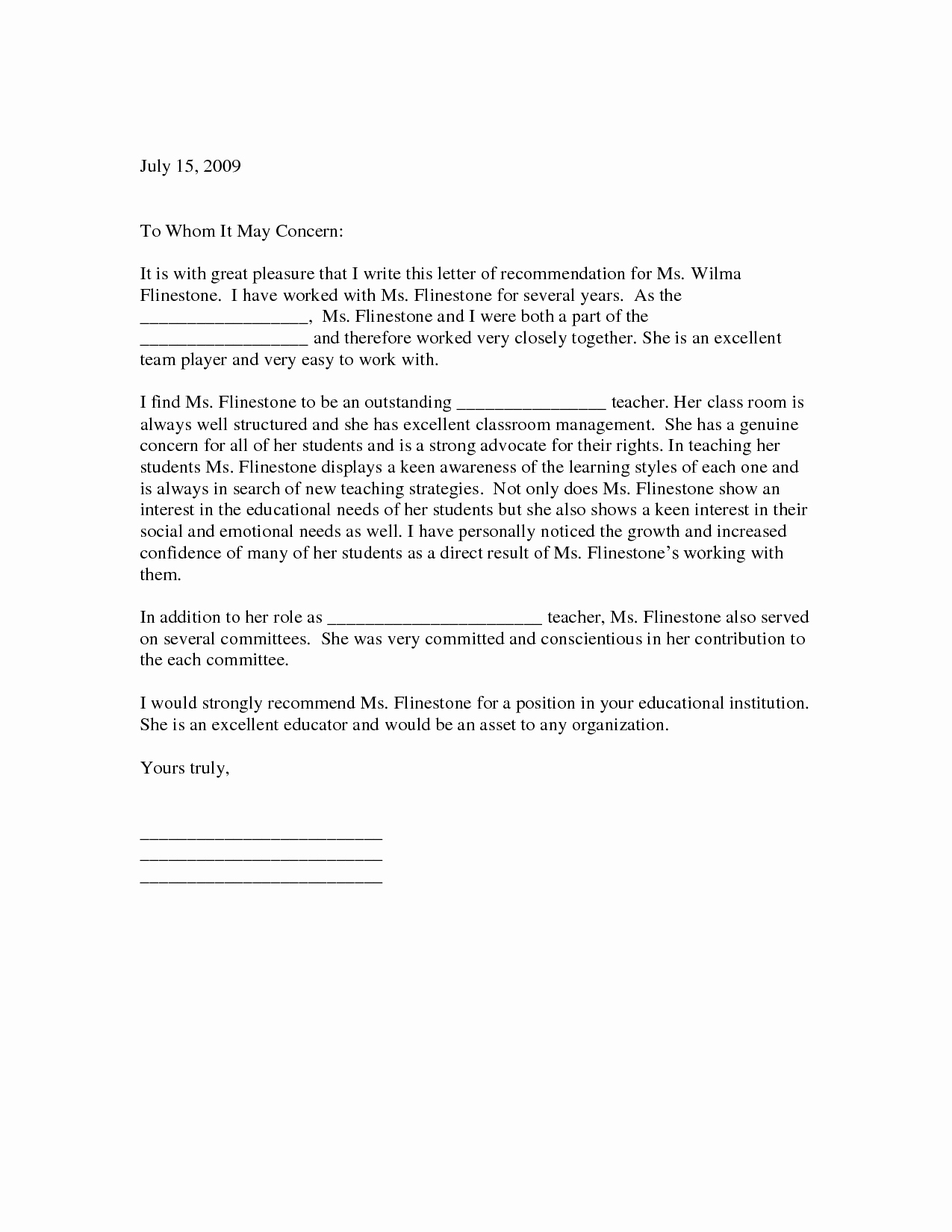 Reference Letter for Teaching Awesome Sample Letter Of Re Mendation for Teacher