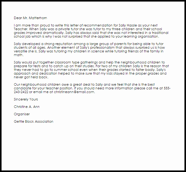 Reference Letter for Teaching Awesome Teacher Re Mendation Letter Example