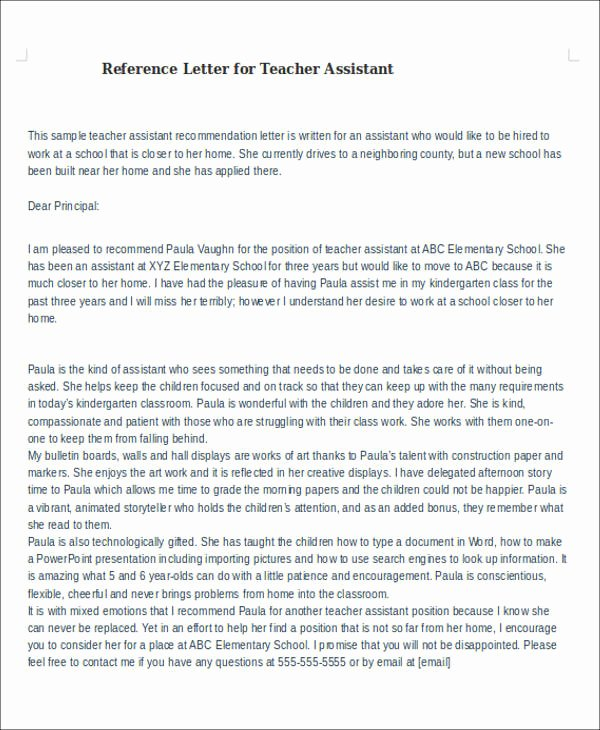 Reference Letter for Teaching Unique 6 Sample Reference Letter for Teachers Examples In Pdf