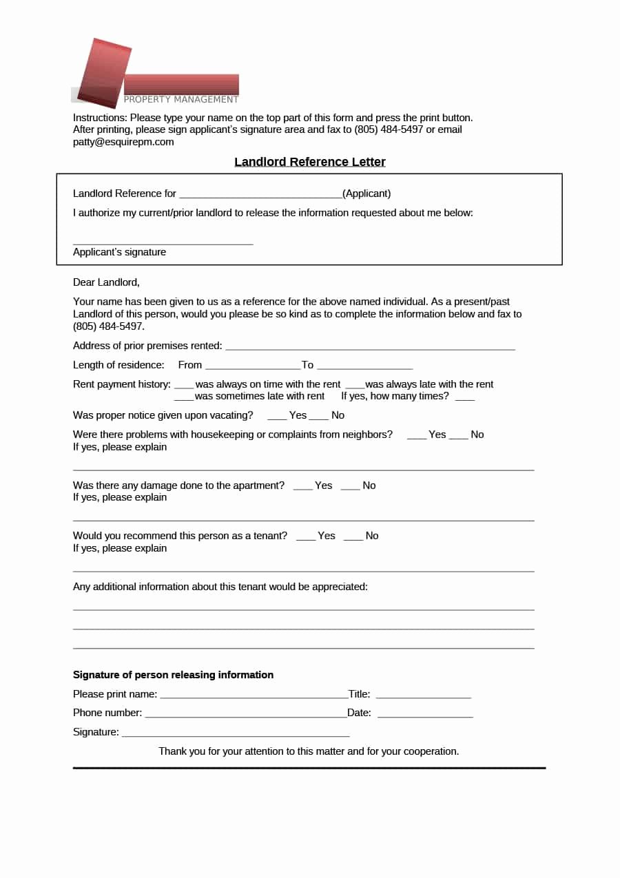 Reference Letter From Landlord Awesome 40 Landlord Reference Letters & form Samples Template Lab