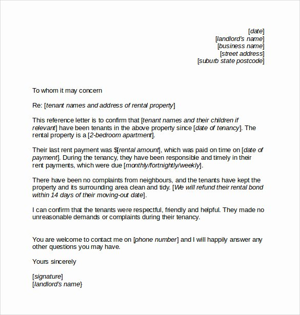 Reference Letter From Landlord Beautiful Landlord Reference Letter Template 10 Samples