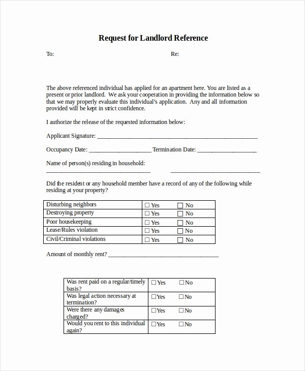 Reference Letter From Landlord Fresh 12 Rental Reference Letter Templates Free Sample