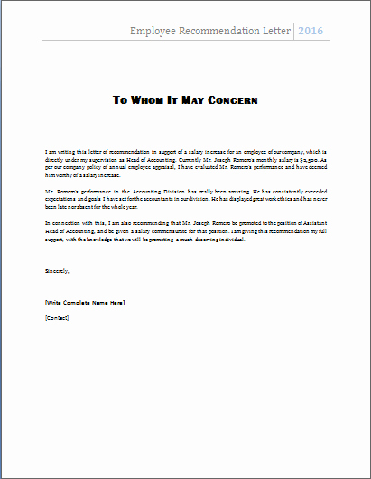 Reference Letter Template for Employee Elegant Ms Word Employee Re Mendation Letter Template