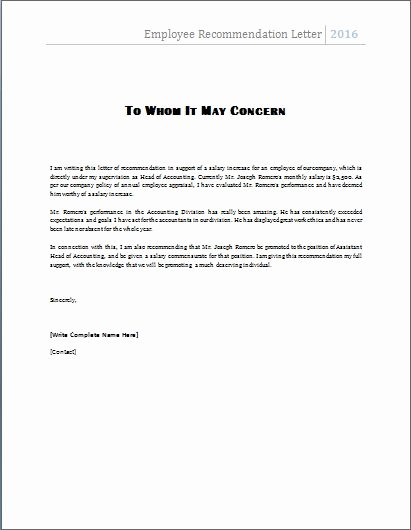 Reference Letter Template for Employee Elegant the Employee Re Mendation Letter is Written by A Manager