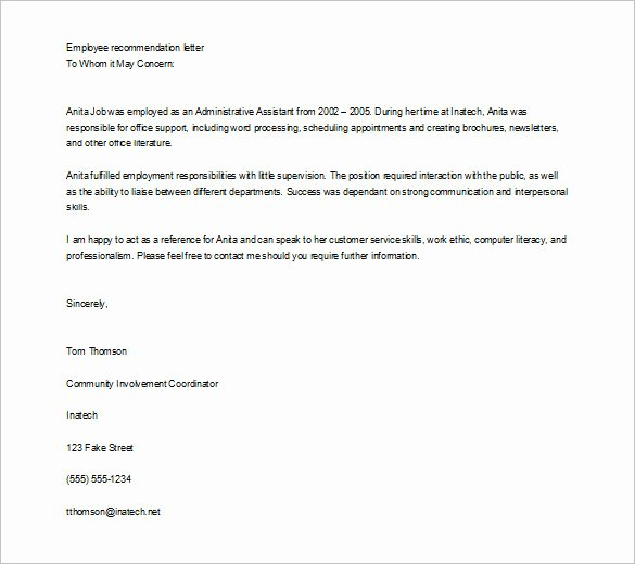 Reference Letter Template for Employee New 10 Job Re Mendation Letter Templates Doc
