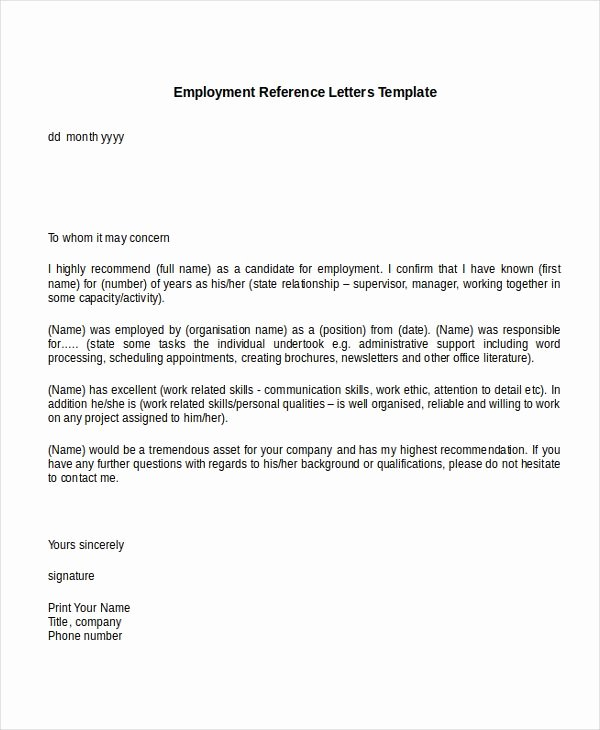Reference Letter Template for Employment Elegant 10 Employment Reference Letter Templates Free Sample