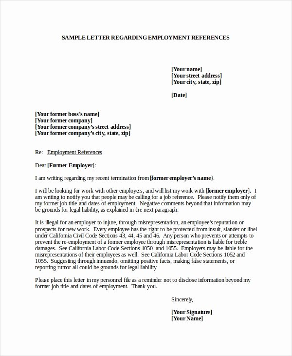 Reference Letter Template for Employment Elegant 7 Job Reference Letter Templates Free Sample Example