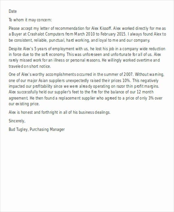 Reference Letter Template for Employment Elegant Fresh Sample Re Mendation Letter for Employee Download