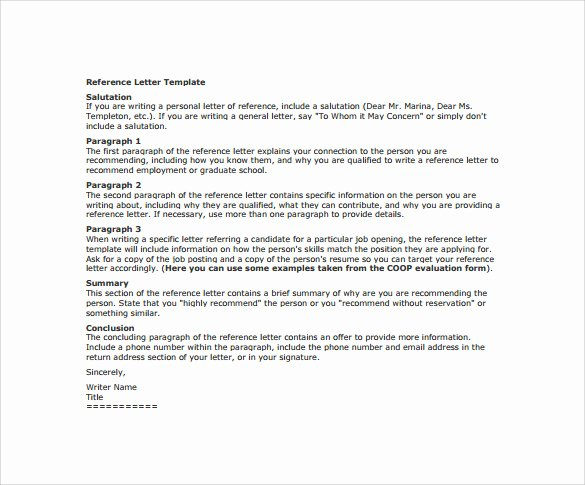 Reference Letter Template for Employment Elegant Sample Reference Letter 14 Free Documents In Pdf Word