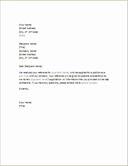 Reference Letter Template for Employment Fresh 5 Academic and Professional Business Reference Letters