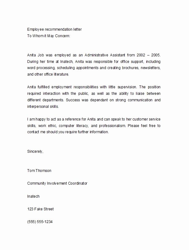 Reference Letter Template for Employment Inspirational 50 Best Re Mendation Letters for Employee From Manager