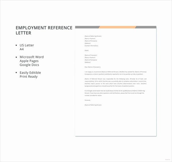 Reference Letter Template for Employment New Employment Reference Letter 8 Free Word Excel Pdf