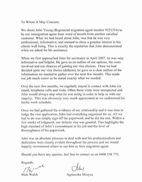 Reference Letters for Immigration Purposes Beautiful Letter Re Mendation for Immigration