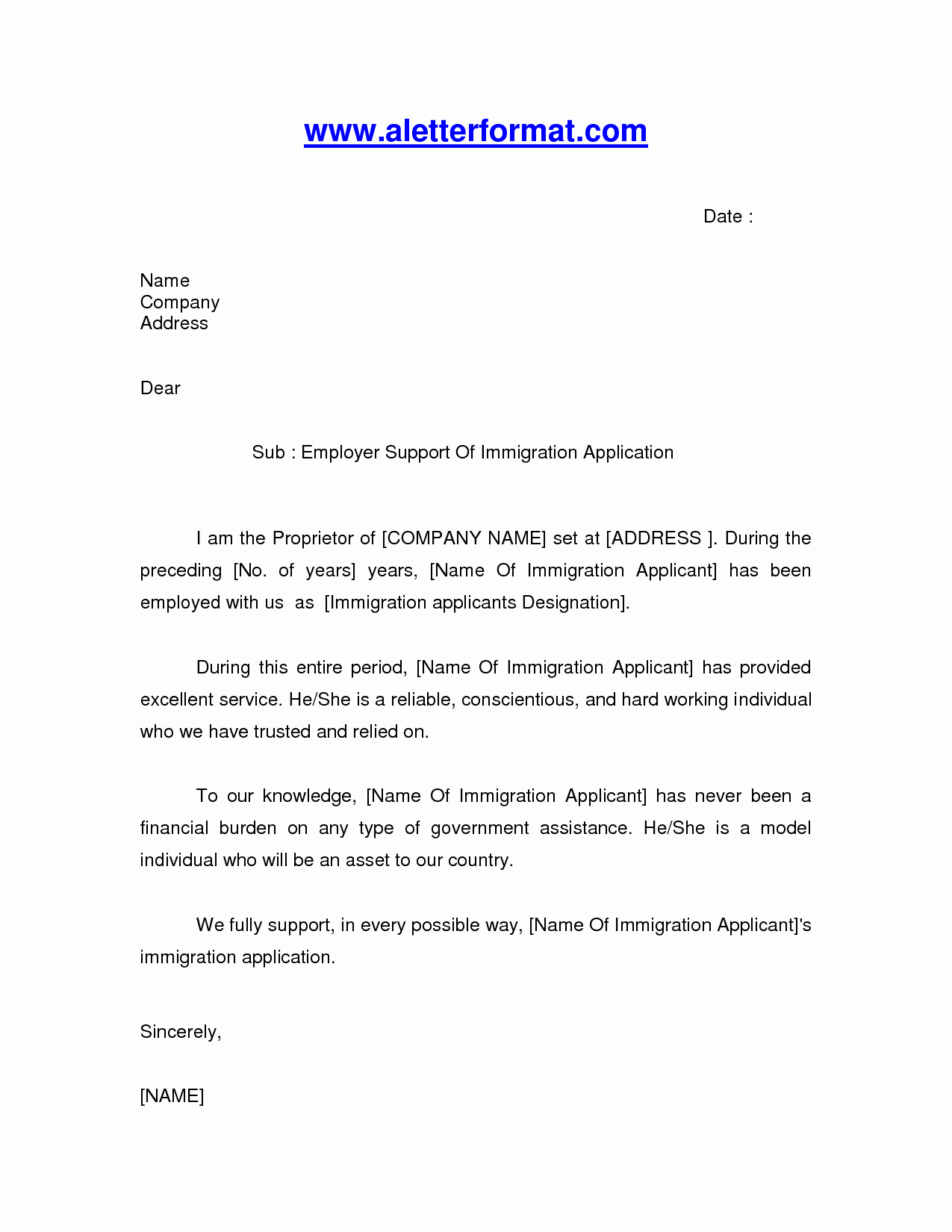 Reference Letters for Immigration Purposes New Immigration Letter Sample Google Search